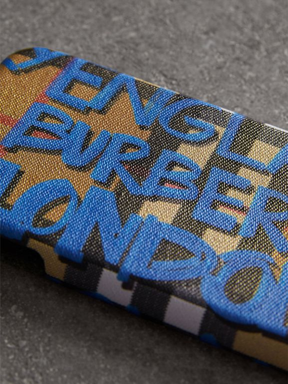 Graffiti Print Vintage Check Leather iPhone 8 Case in Canvas Blue/antique Yellow | Burberry Canada - cell image 1