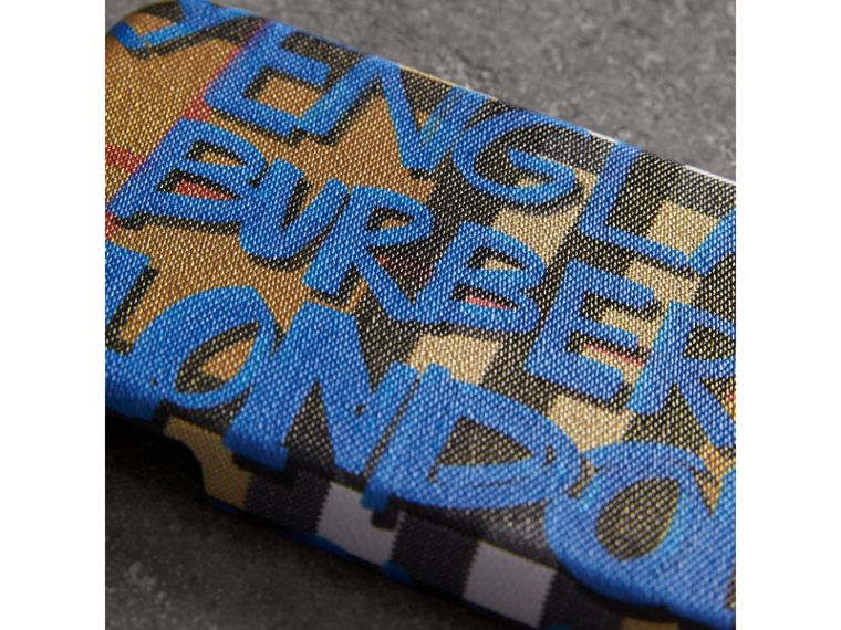 Graffiti Print Vintage Check Leather iPhone 8 Case in Canvas Blue/antique Yellow | Burberry - cell image 1