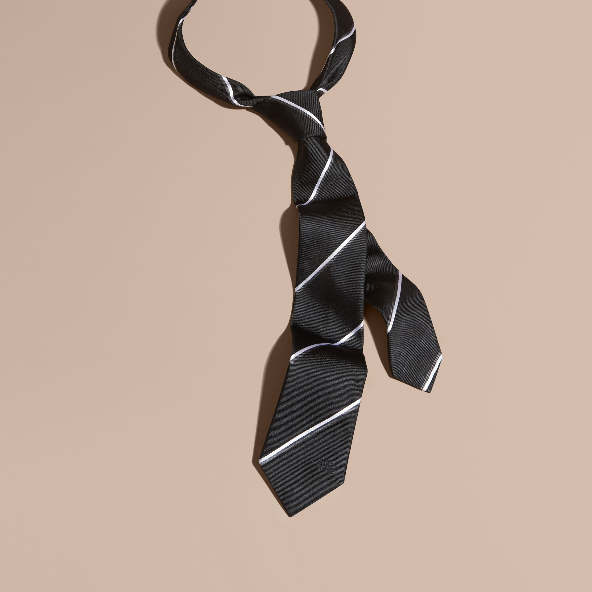 Black Slim Fit Striped Silk Tie Black - gallery image 3