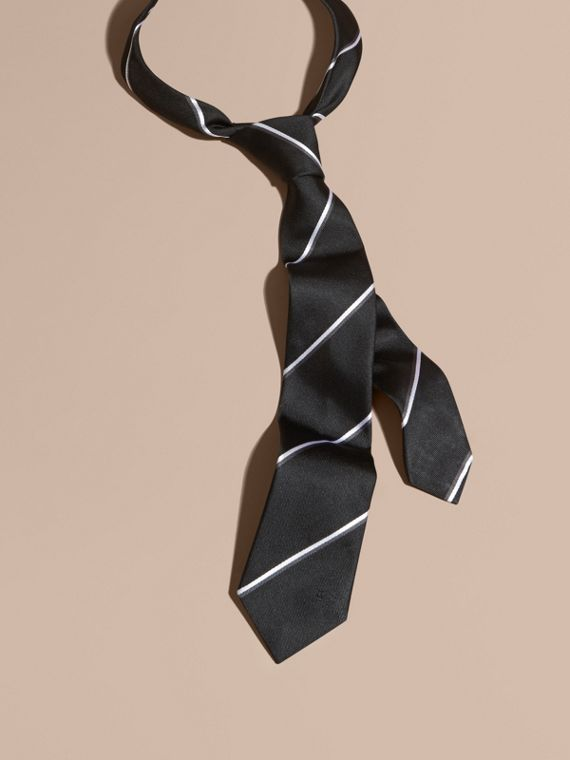 Black Slim Fit Striped Silk Tie Black - cell image 2