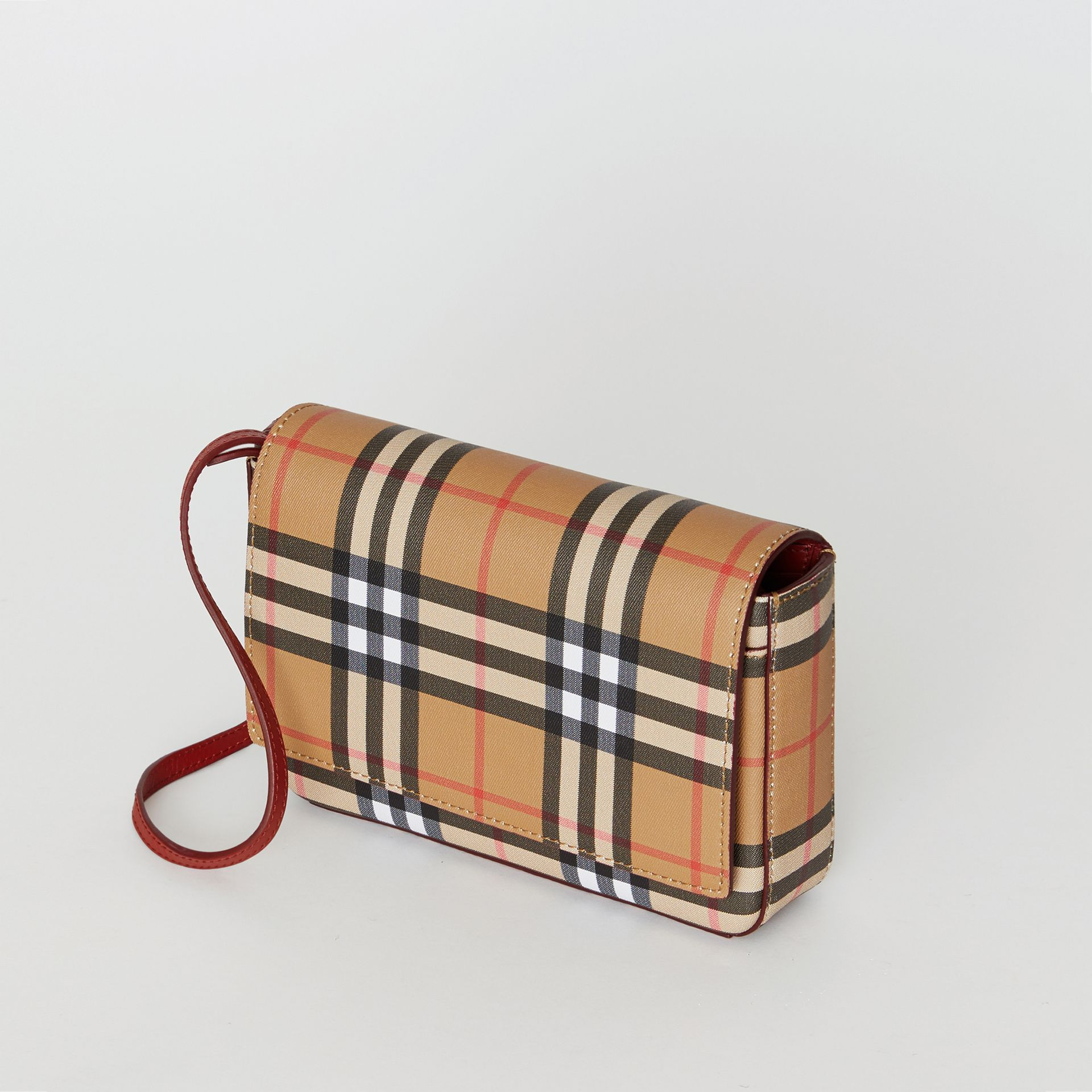 Small Vintage Check and Leather Crossbody Bag in Crimson - Women | Burberry United States - gallery image 4