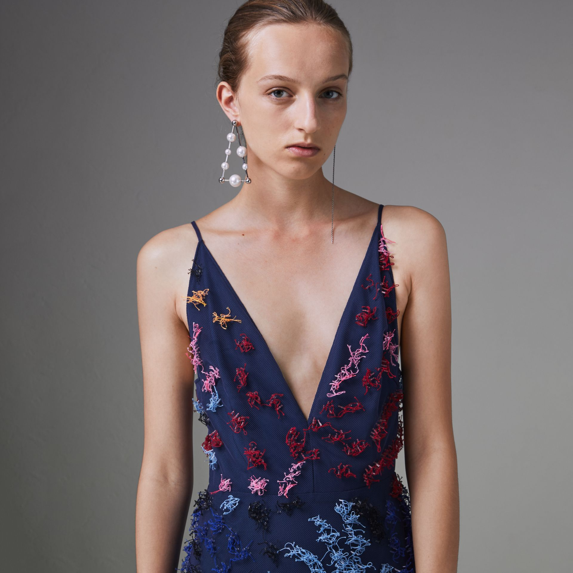 Hand-beaded Sleeveless Dress in Multi -bright Pink - Women | Burberry Singapore - gallery image 1