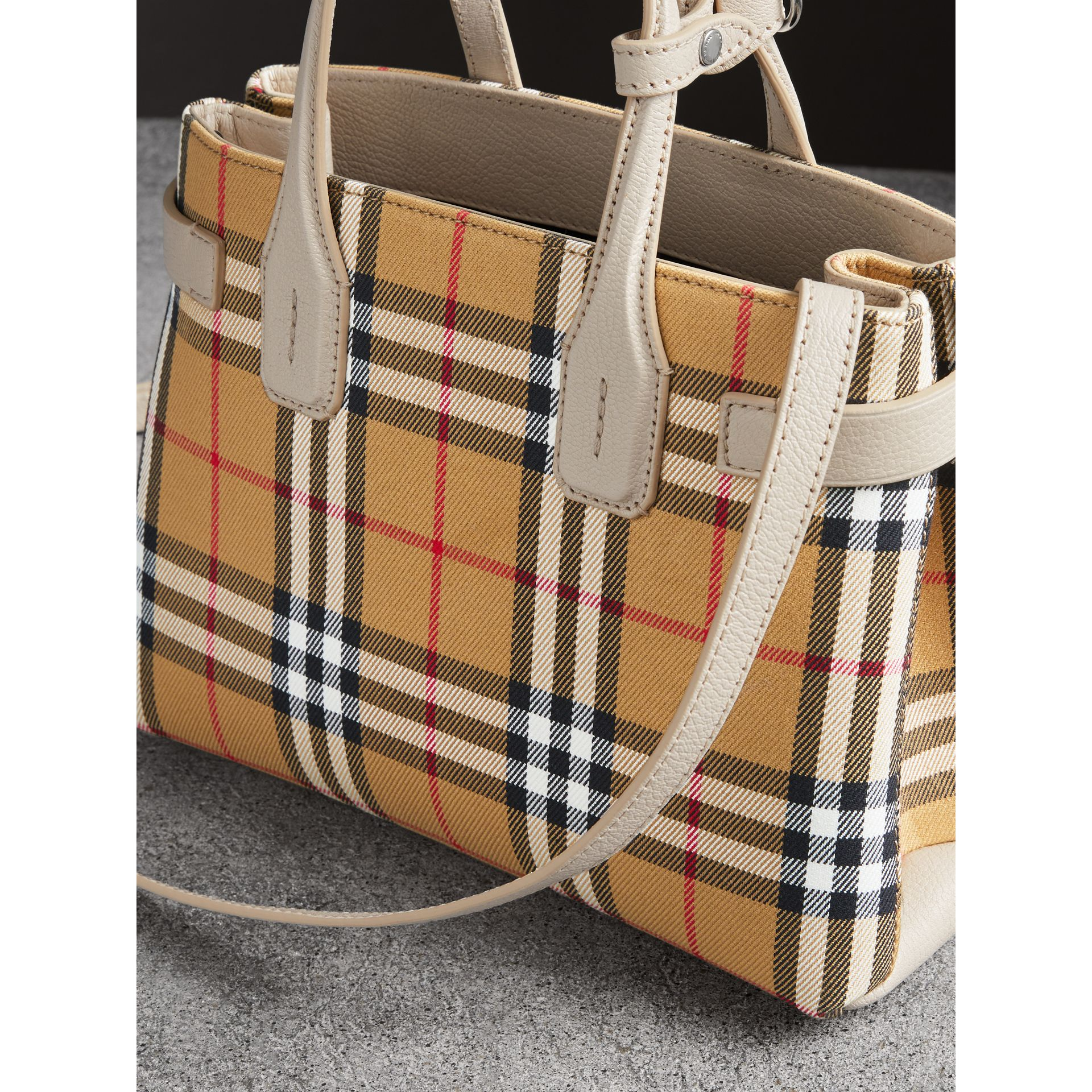 The Small Banner in Vintage Check and Leather in Limestone - Women | Burberry Australia - gallery image 4