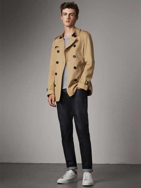 The Chelsea – Trench coat Heritage curto (Mel) - Homens | Burberry