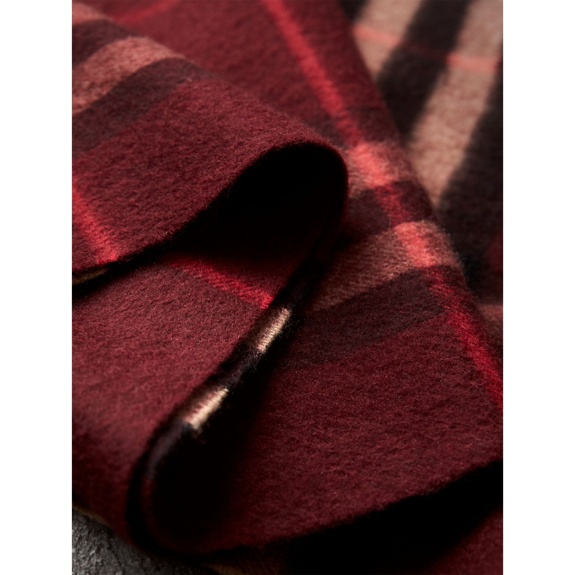 The Classic Check Cashmere Scarf in Claret | Burberry United Kingdom - gallery image 4