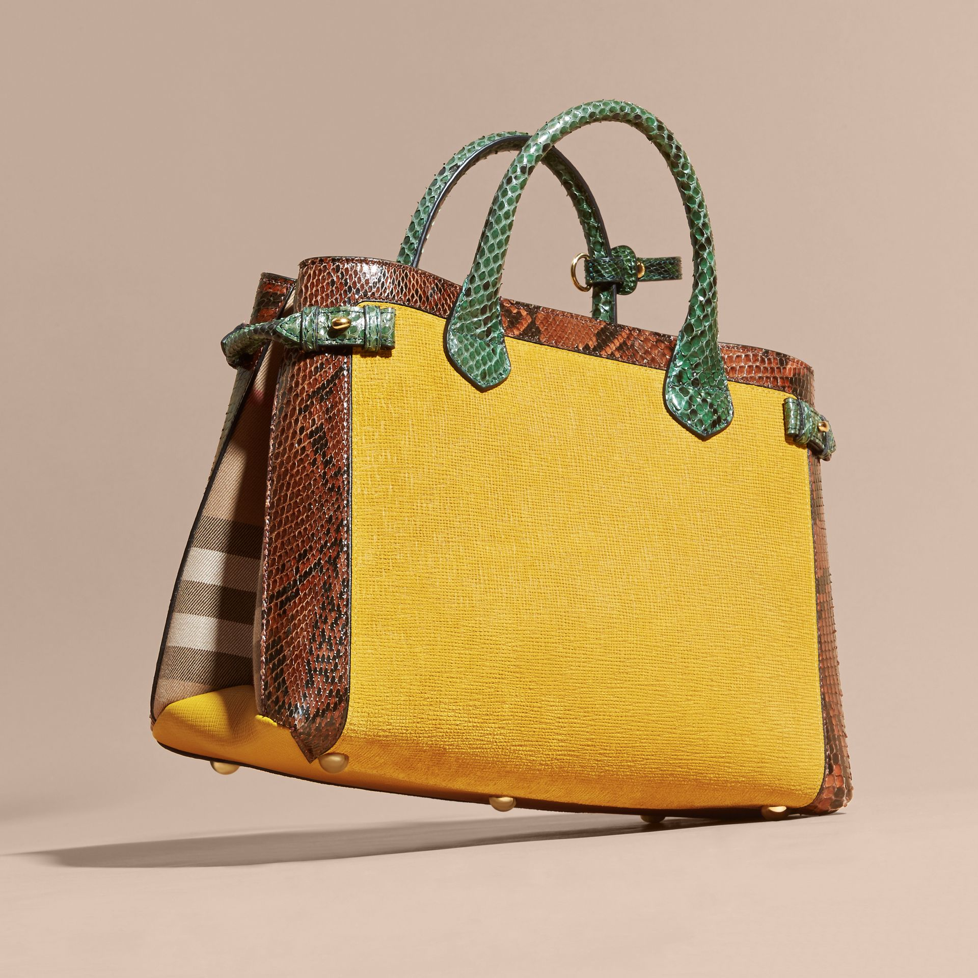 The Medium Banner in Leather, Python and House Check in Larch Yellow - Women | Burberry - gallery image 5