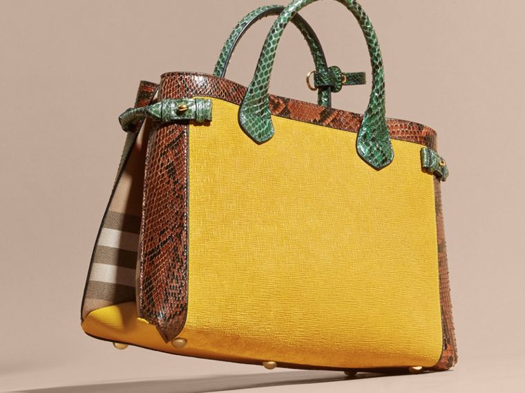 The Medium Banner in Leather, Python and House Check in Larch Yellow - Women | Burberry Australia - cell image 4