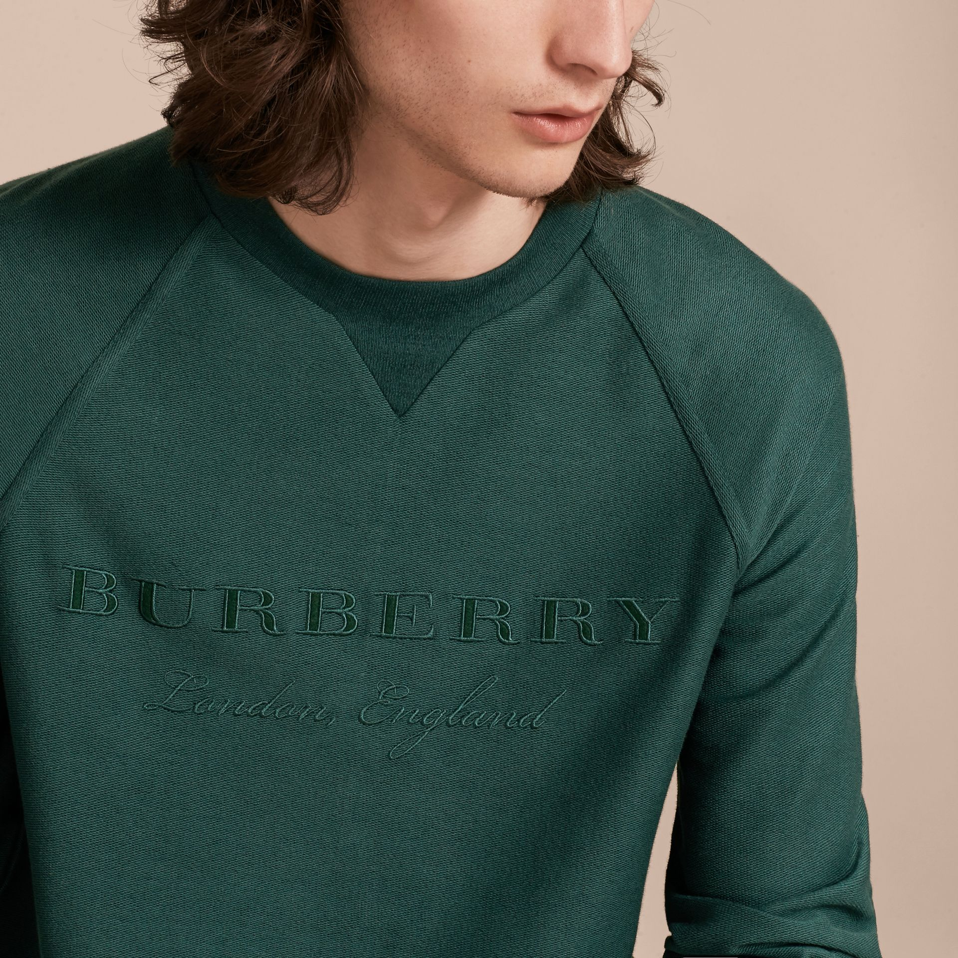 Embroidered Motif Cotton-blend Jersey Sweatshirt in Deep Teal - Men | Burberry - gallery image 5