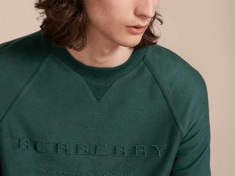 Embroidered Motif Cotton-blend Jersey Sweatshirt in Deep Teal - Men | Burberry - cell image 4