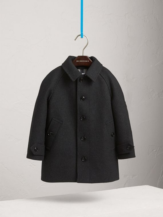 Wool Cashmere Blend Car Coat in Dark Grey Melange