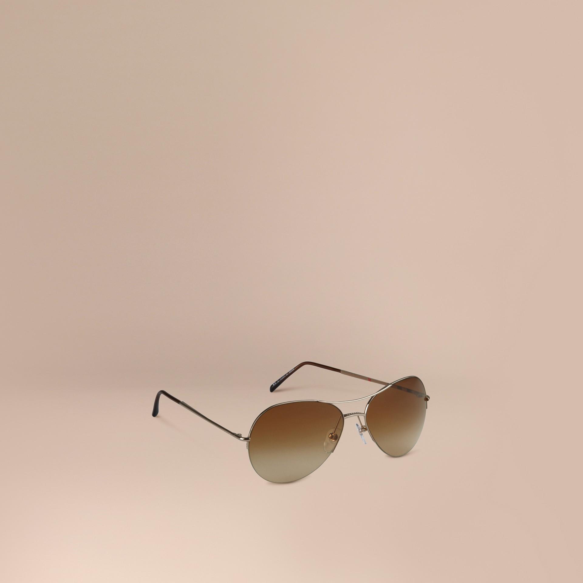 Pale gold Half-Frame Aviator Sunglasses - gallery image 1