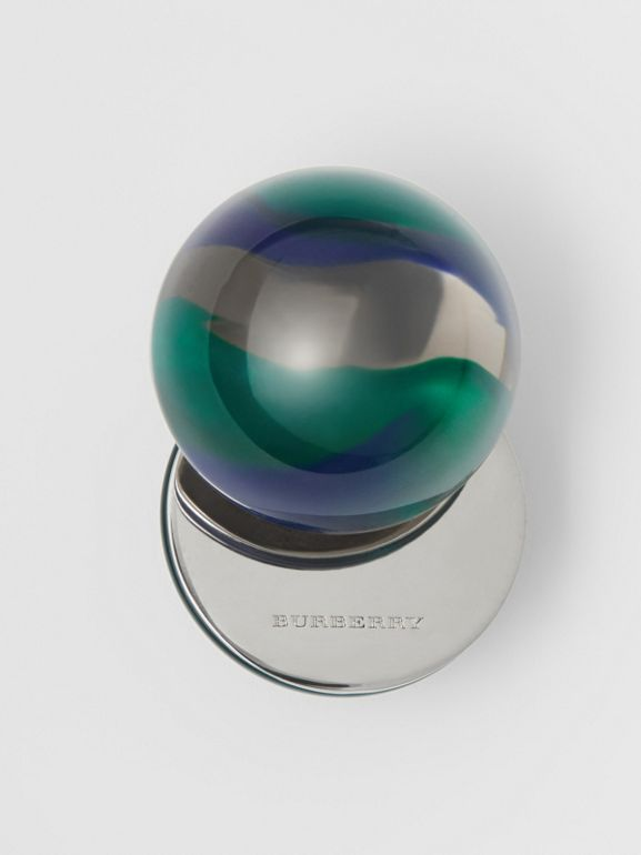 Marbled Resin Palladium-plated Sphere Earrings in Palladio/ocean Green - Women | Burberry Australia - cell image 1