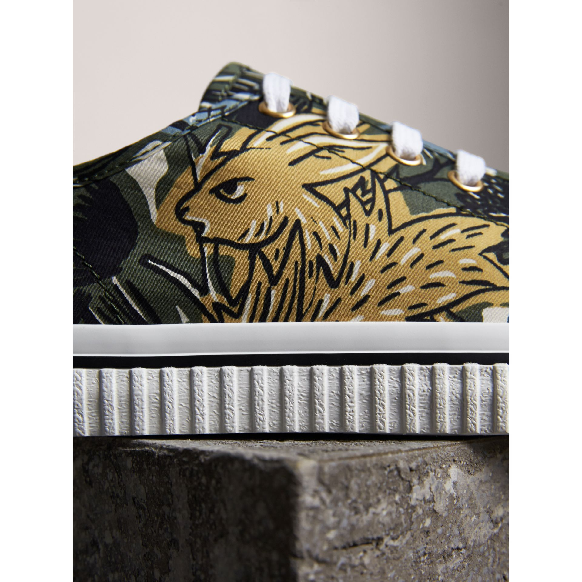 Beasts Print Cotton Blend Sneakers in Clay Green - Women | Burberry - gallery image 1