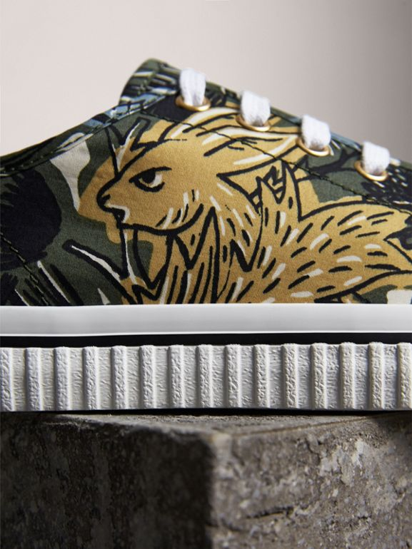 Beasts Print Cotton Blend Sneakers in Clay Green - Women | Burberry - cell image 1