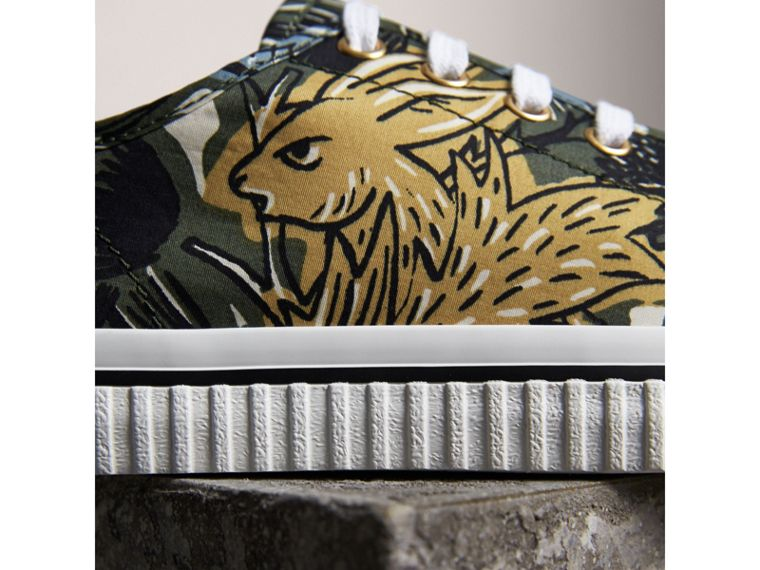Beasts Print Cotton Blend Trainers in Clay Green - Women | Burberry - cell image 1