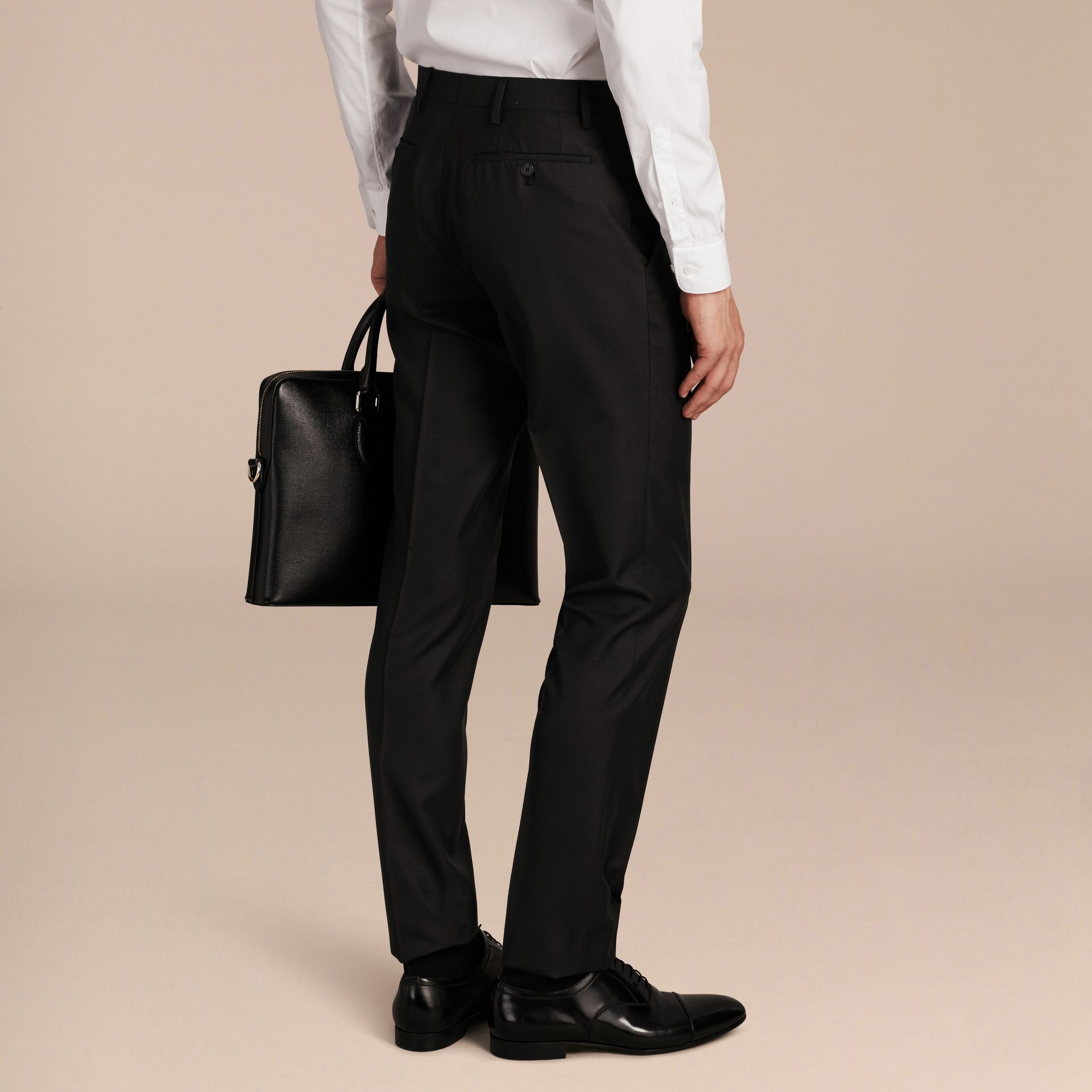 Black Slim Fit Wool Trousers Black - gallery image 3
