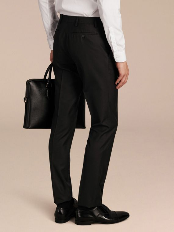 Slim Fit Wool Trousers in Black - Men | Burberry - cell image 2
