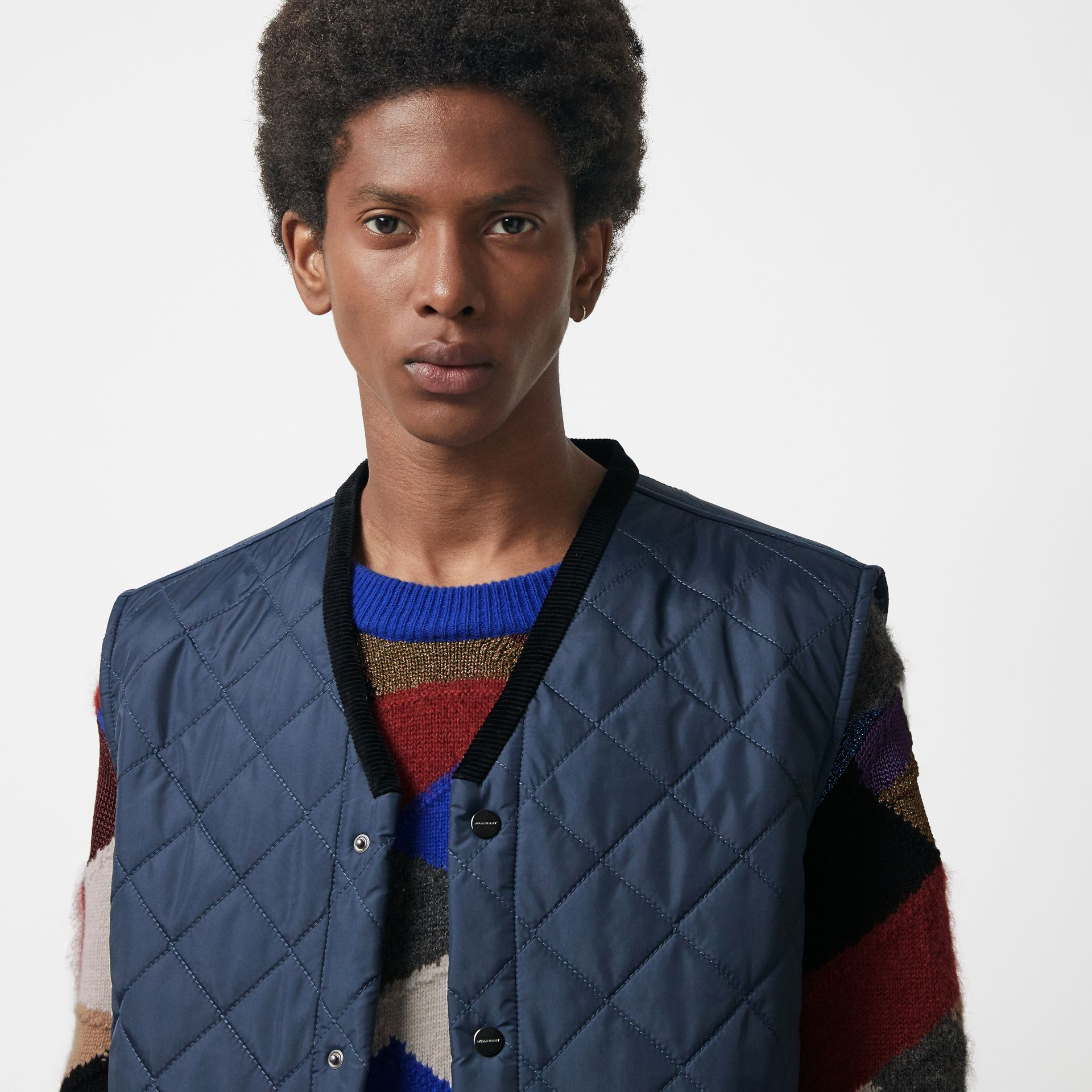 Diamond Quilted Gilet in Bright Navy - Men | Burberry Singapore - gallery image 4