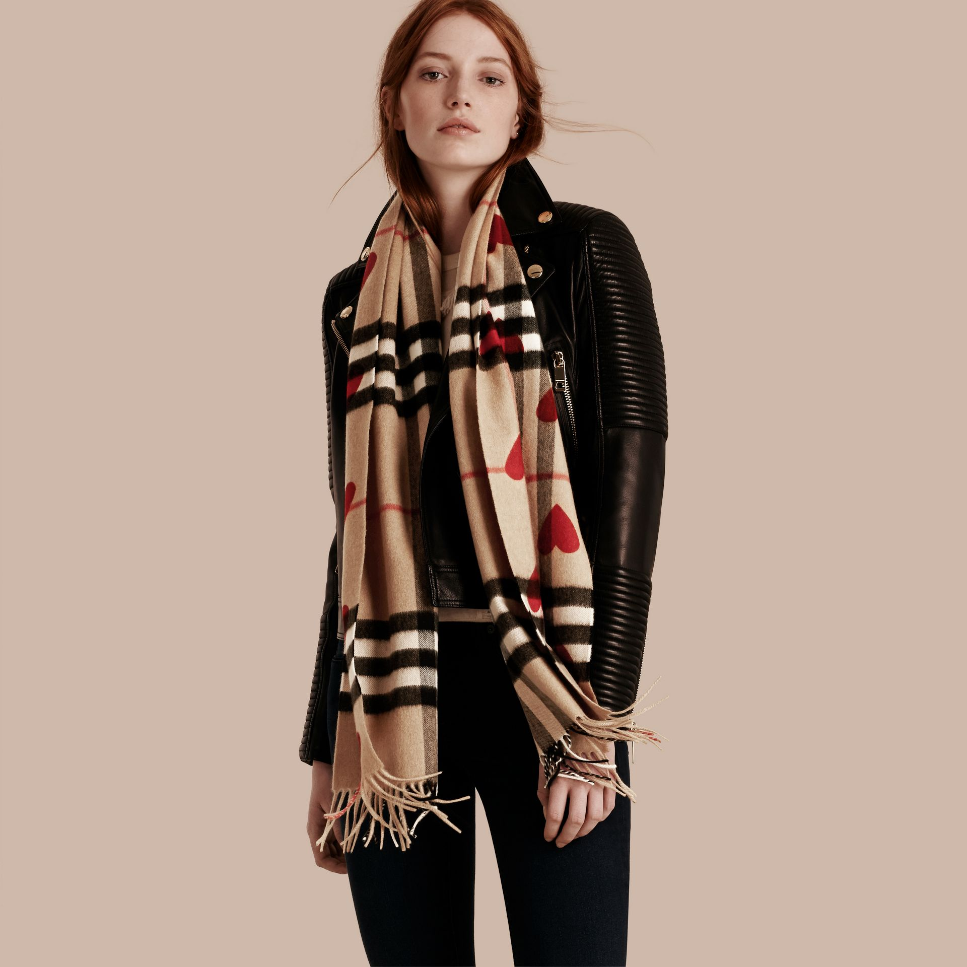 The Classic Cashmere Scarf in Check and Hearts in Parade Red | Burberry - gallery image 3
