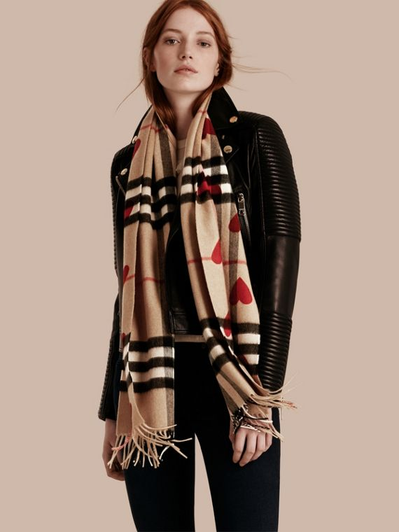 The Classic Cashmere Scarf in Check and Hearts in Parade Red | Burberry - cell image 2