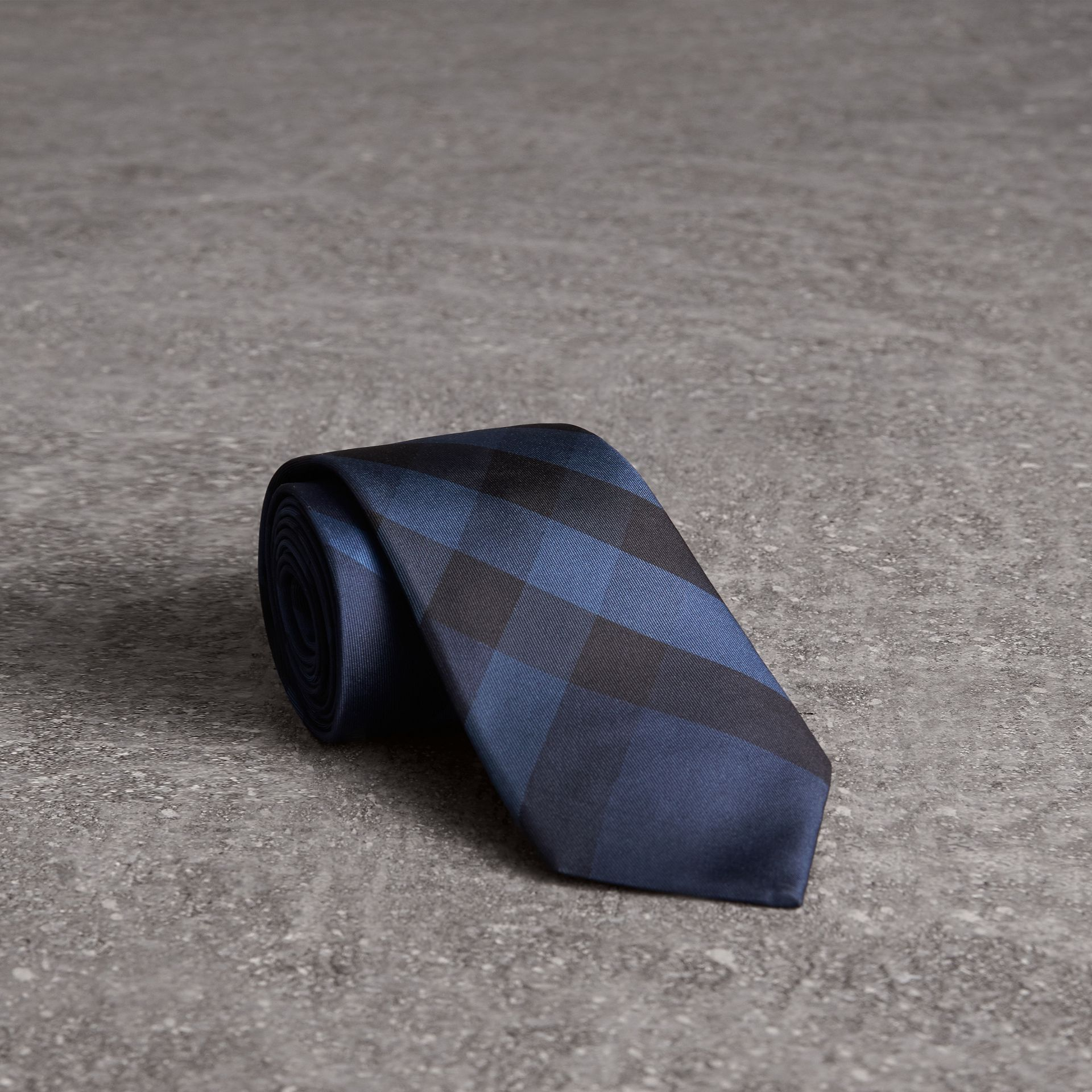 Modern Cut Check Silk Tie in Navy - Men | Burberry United Kingdom - gallery image 0