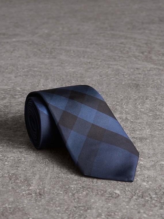 Modern Cut Check Silk Tie in Navy
