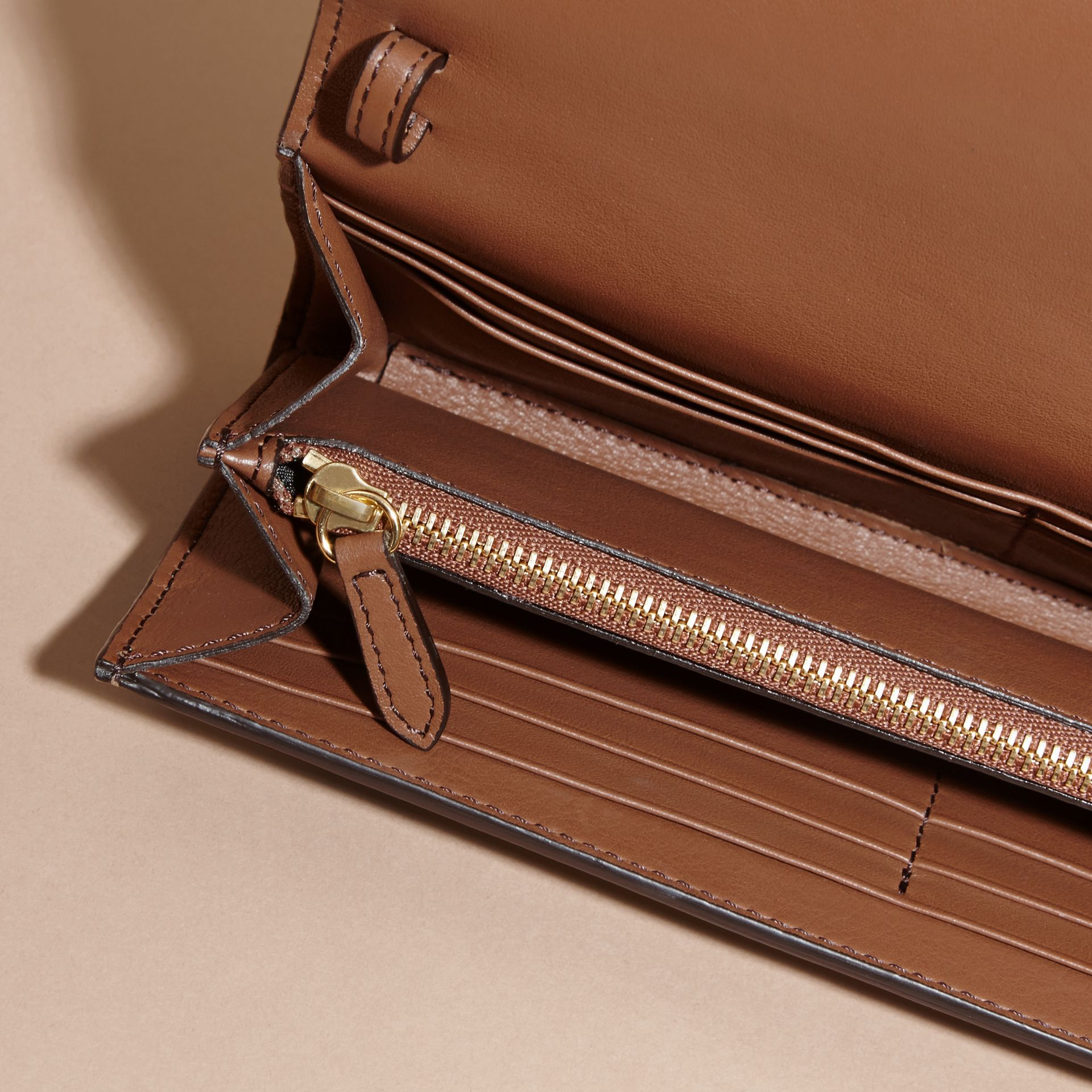 House Check and Leather Wallet with Chain in Tan - Women | Burberry - gallery image 6