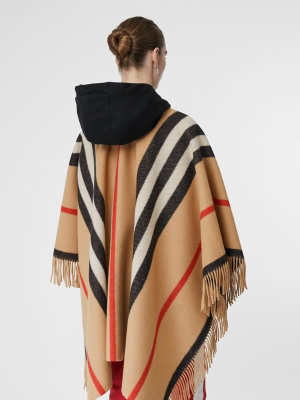 Striped Wool Cape in Camel - Women | Burberry - cell image 2