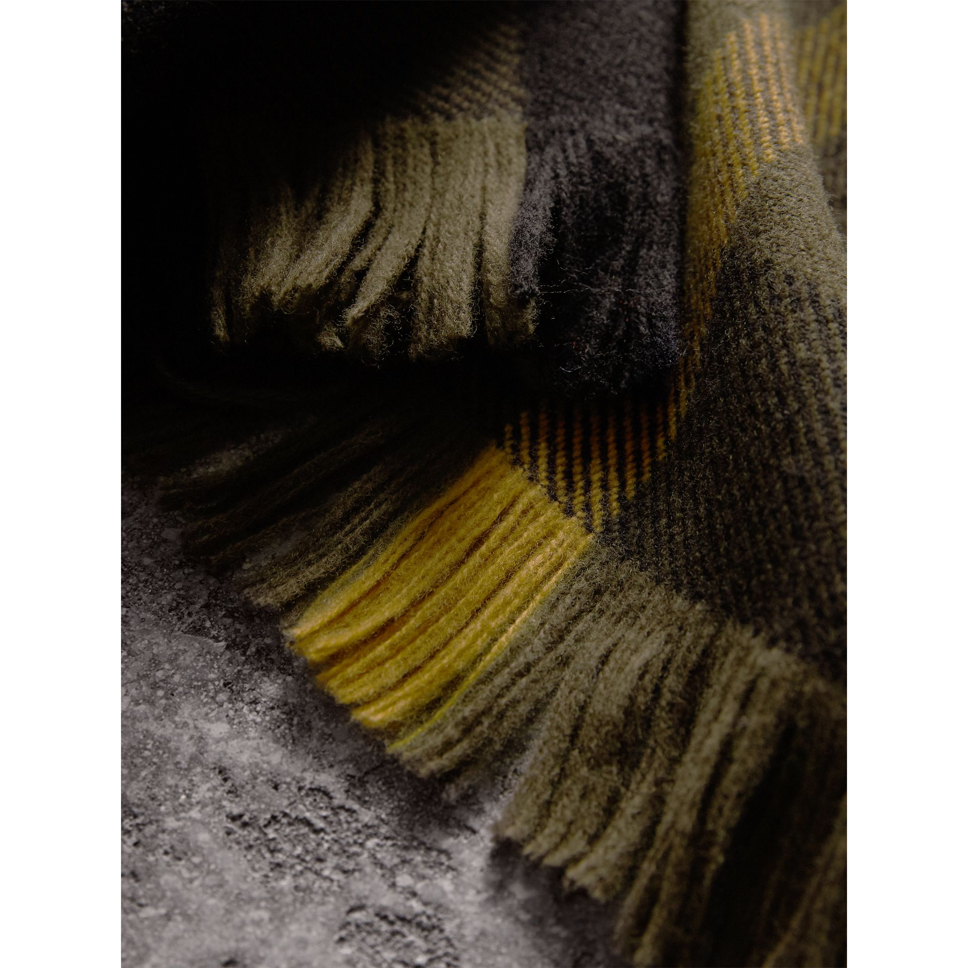 Fringed Check Wool Scarf in Military Green | Burberry - gallery image 2