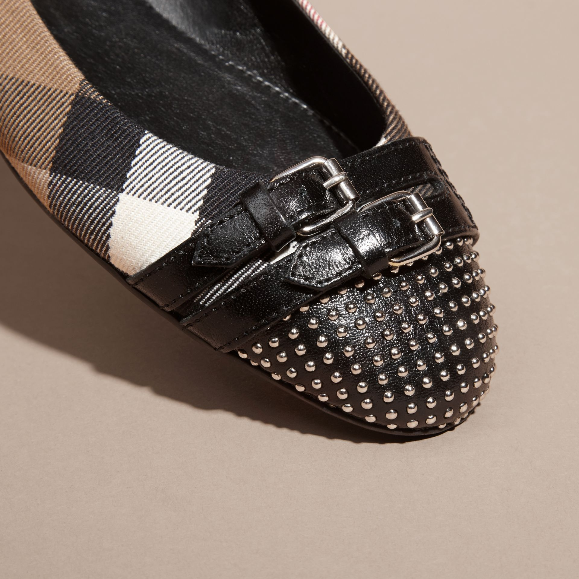 Black Stud and Buckle Detail House Check Ballerinas - gallery image 2