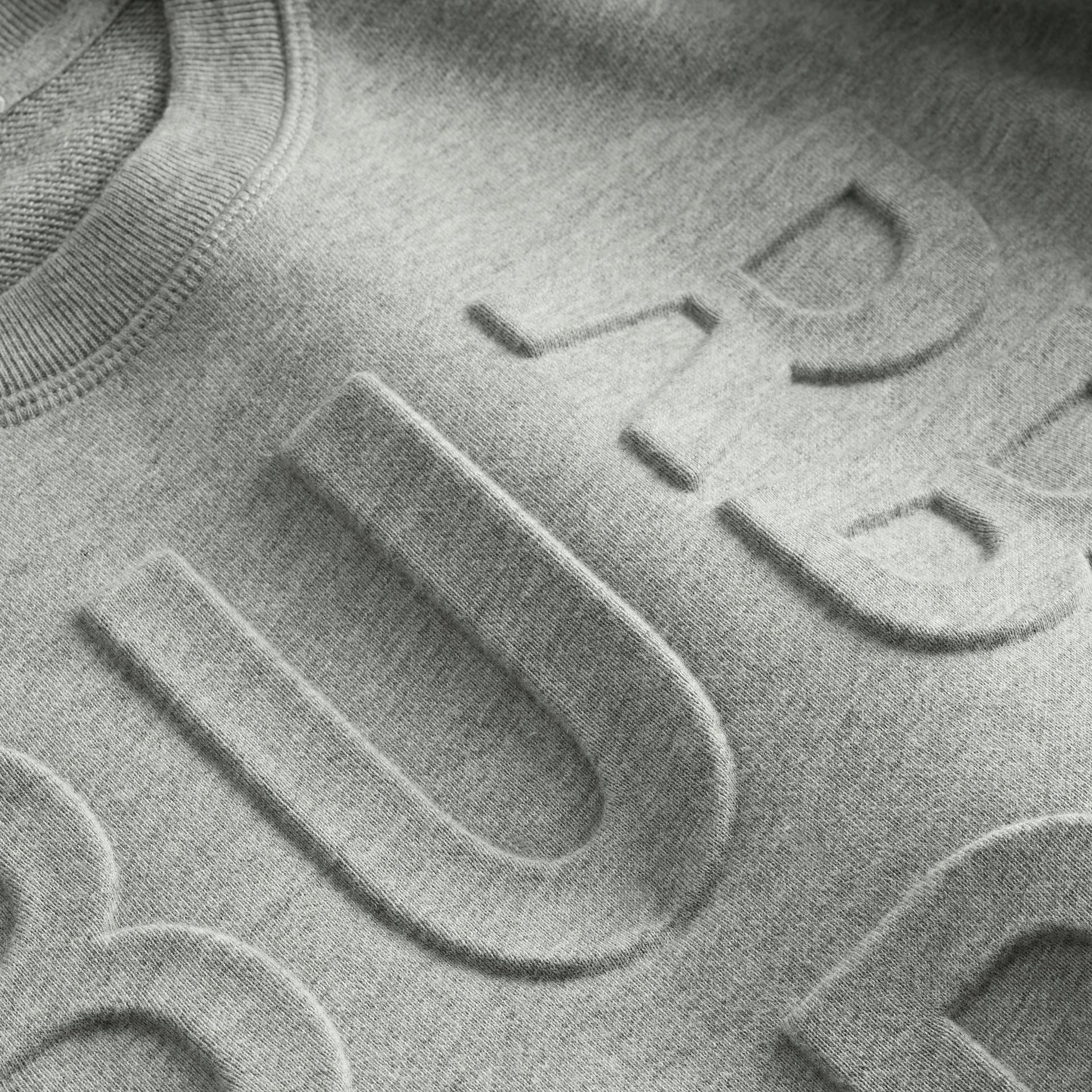 Embossed Logo Cotton Sweatshirt in Grey Melange | Burberry Australia - gallery image 1