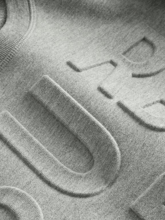 Embossed Logo Cotton Sweatshirt in Grey Melange | Burberry Australia - cell image 1
