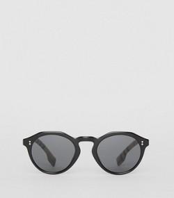 6e4f08edc4cfb7 Lunettes de soleil rondes avec détail Vintage check (Noir beige)