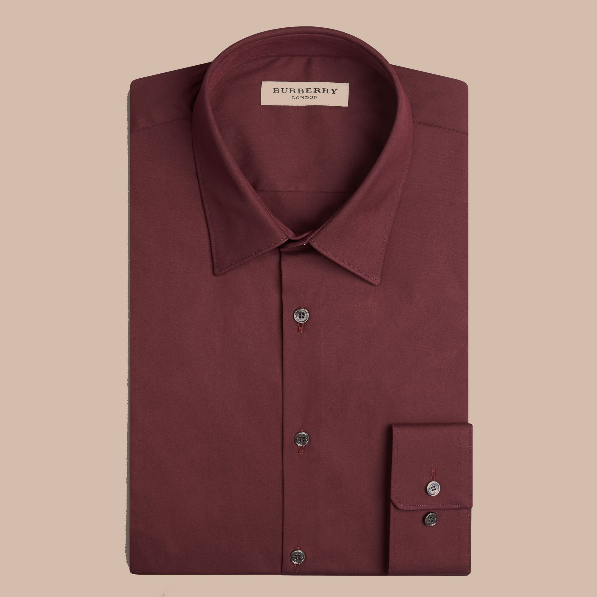 Slim Fit Stretch Cotton Shirt in Mahogany Red - gallery image 4