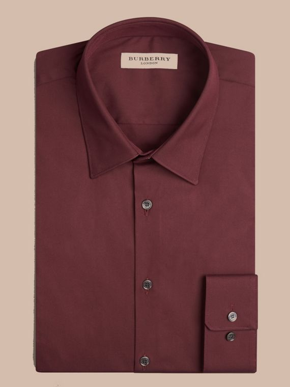 Slim Fit Stretch Cotton Shirt in Mahogany Red - cell image 3