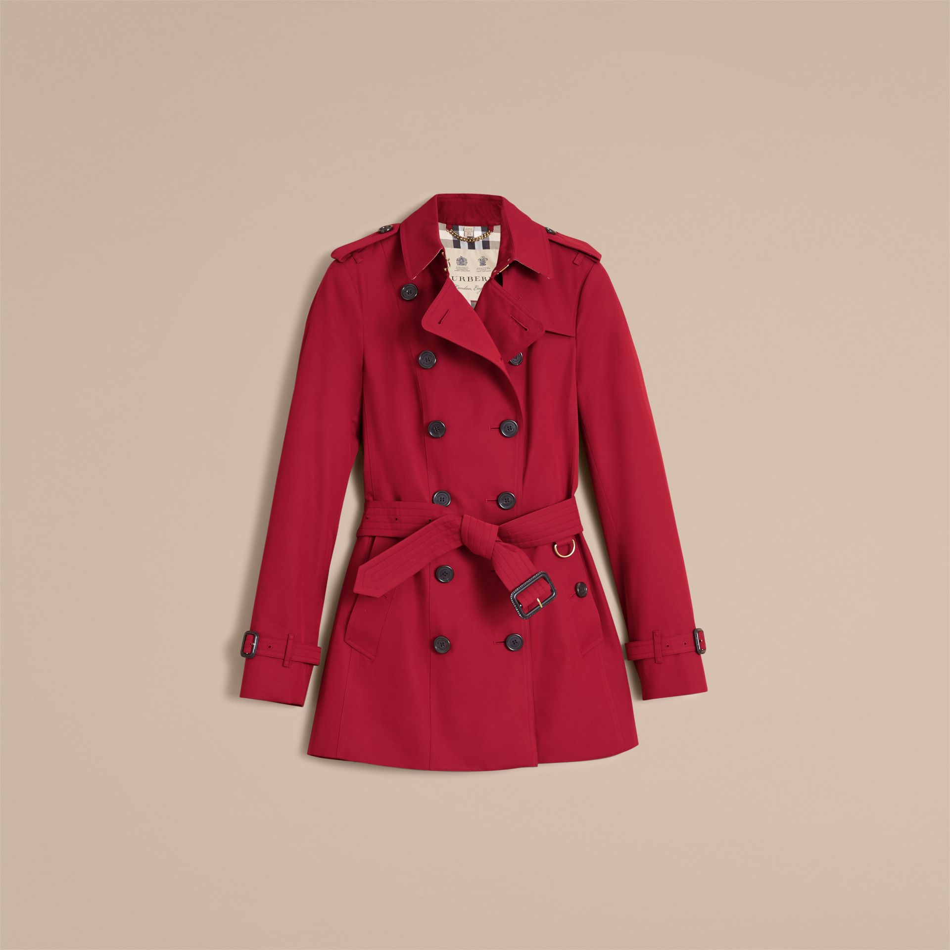 The Sandringham – Short Heritage Trench Coat in Parade Red - gallery image 4