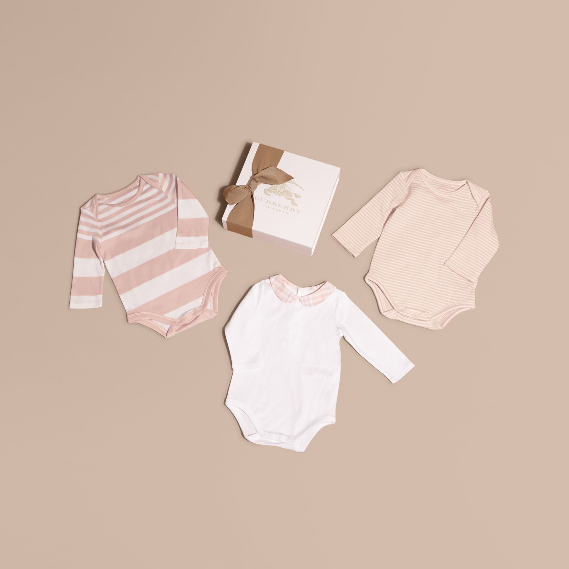 Patterned Cotton Blend Three-piece Baby Gift Set in Powder Pink - Children | Burberry - gallery image 1