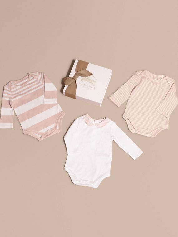 Patterned Cotton Blend Three-piece Baby Gift Set in Powder Pink