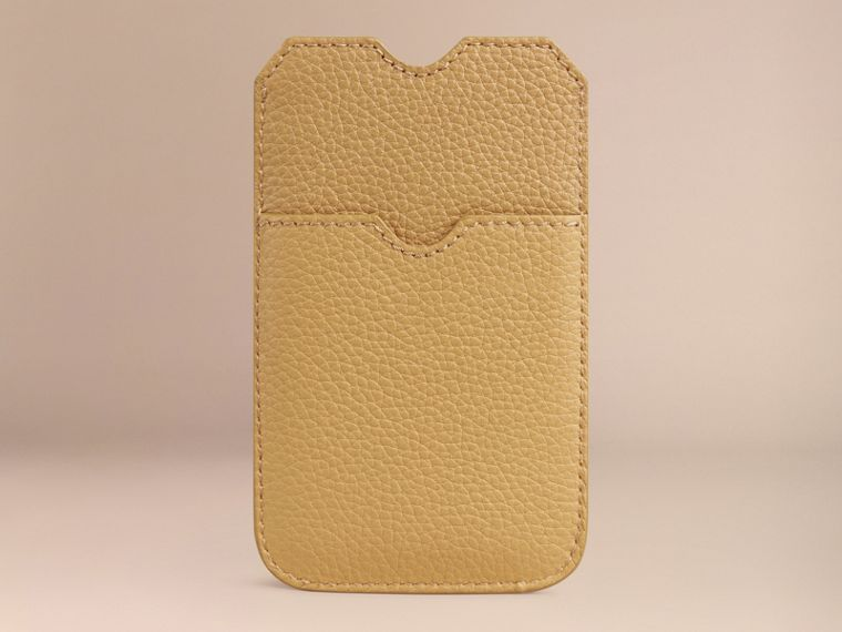 Grainy Leather iPhone 5/5S Case in Ochre Yellow | Burberry Singapore - cell image 1