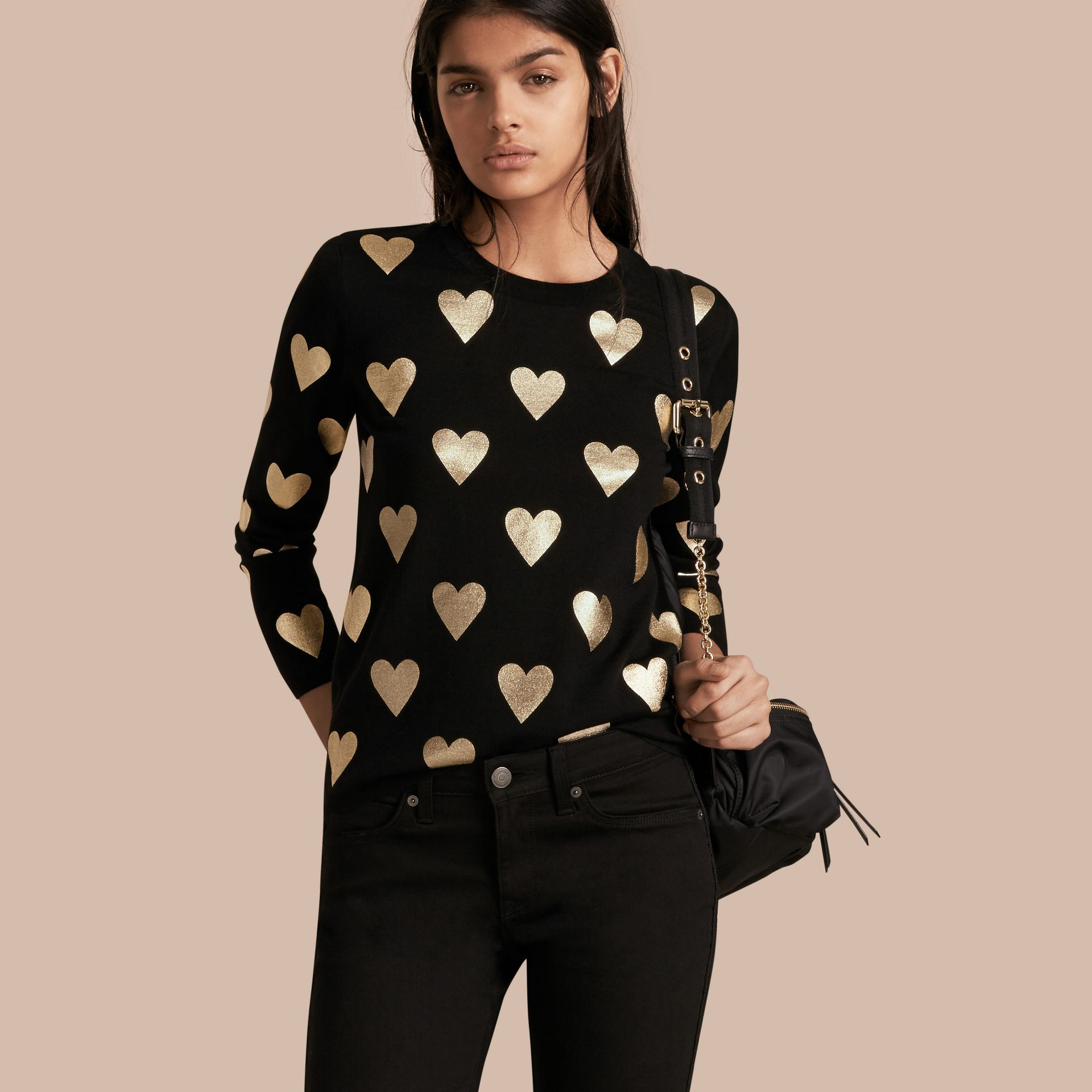 Crew Neck Heart Print Merino Wool Sweater in Black - gallery image 1