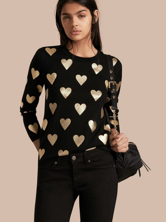Crew Neck Heart Print Merino Wool Sweater Black