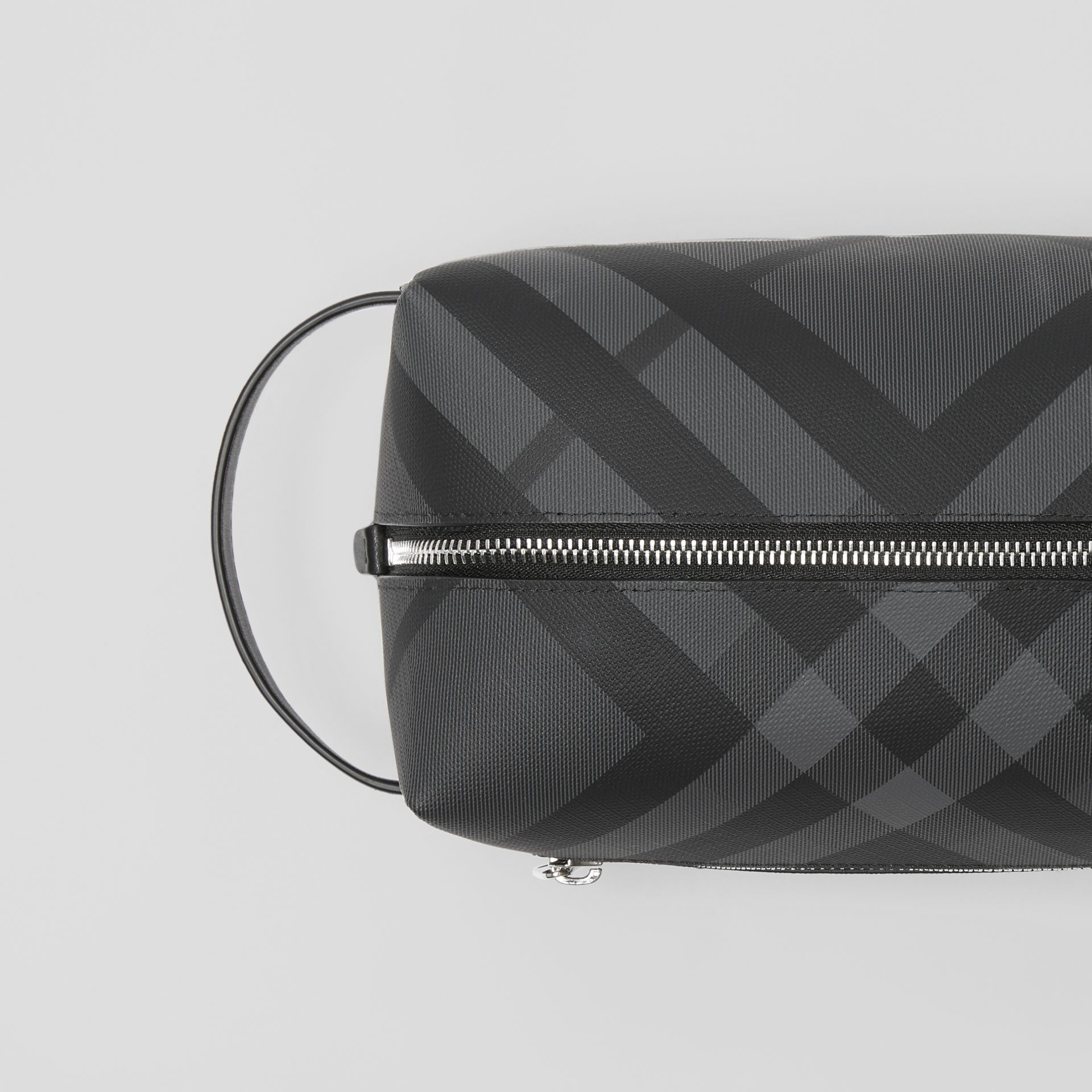 EKD London Check and Leather Pouch in Charcoal/black - Men | Burberry Singapore - gallery image 1