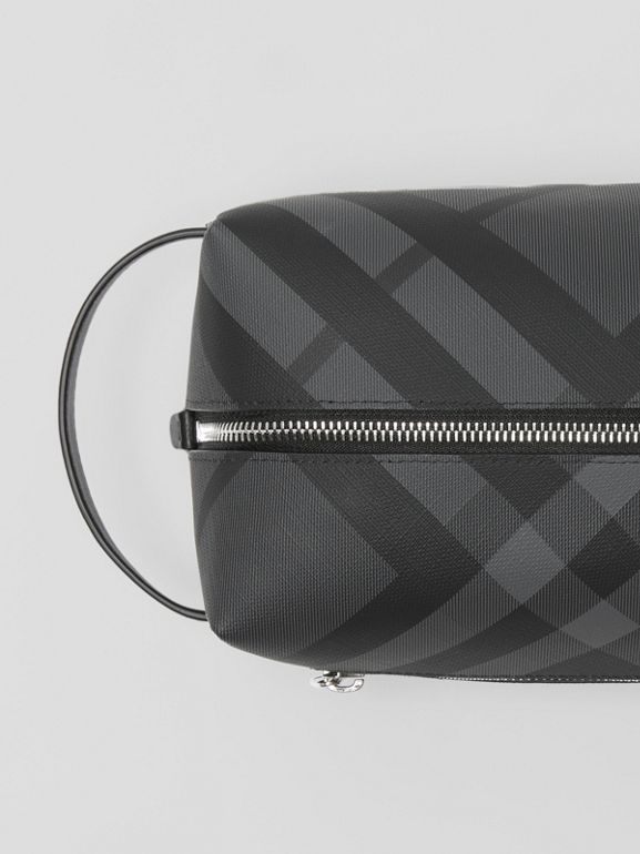 EKD London Check and Leather Pouch in Charcoal/black - Men | Burberry Singapore - cell image 1