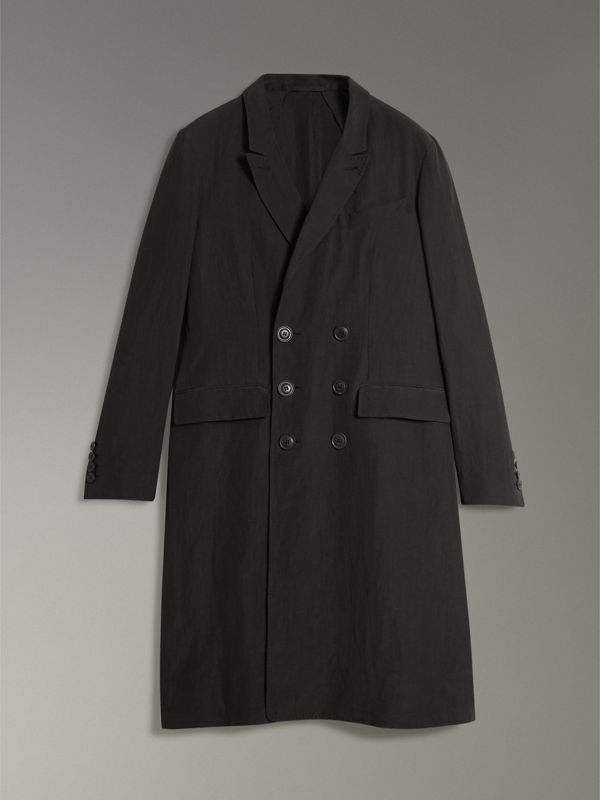 Linen Silk Chesterfield in Black - Men | Burberry - cell image 3