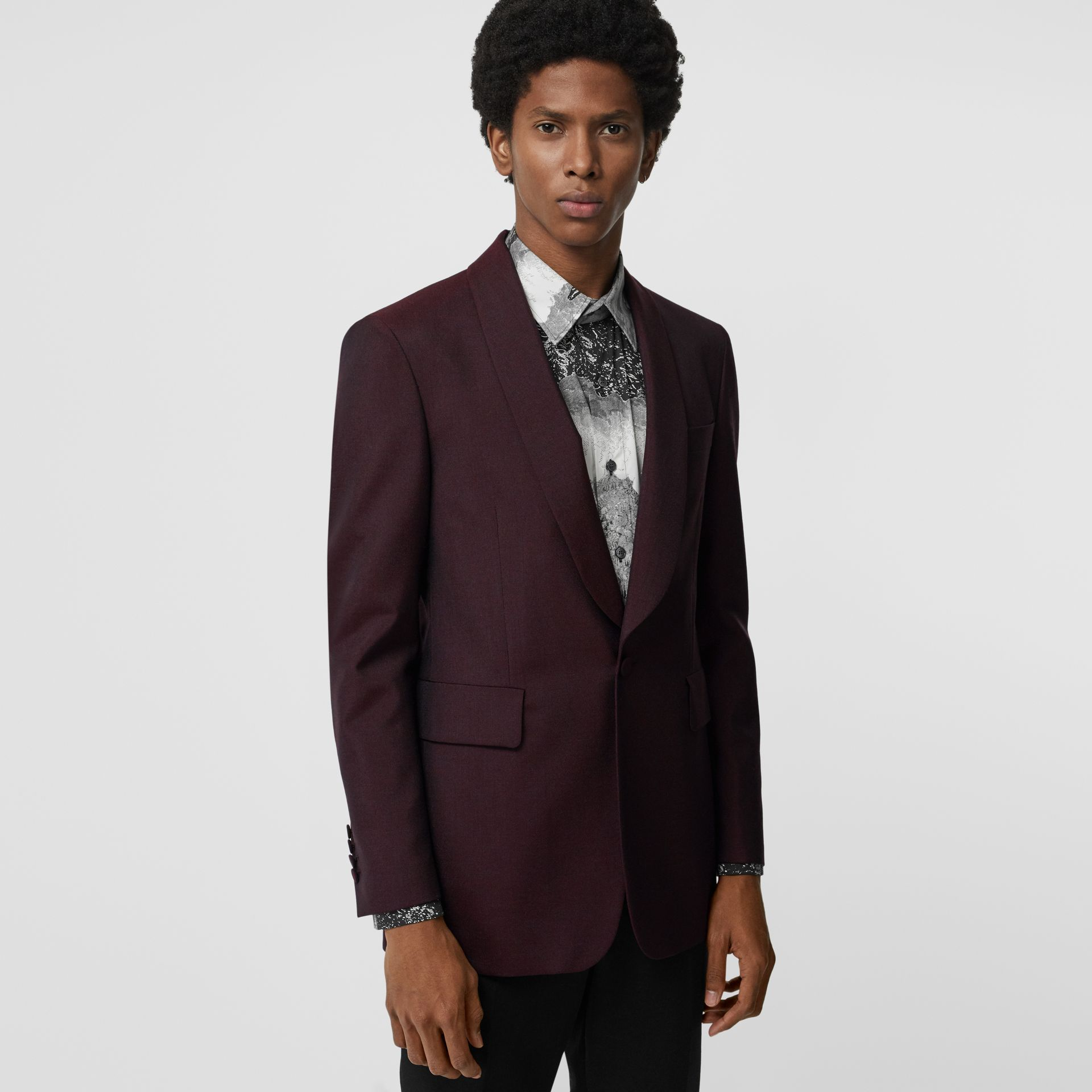 Classic Fit Mohair Evening Jacket in Deep Burgundy - Men | Burberry - gallery image 5