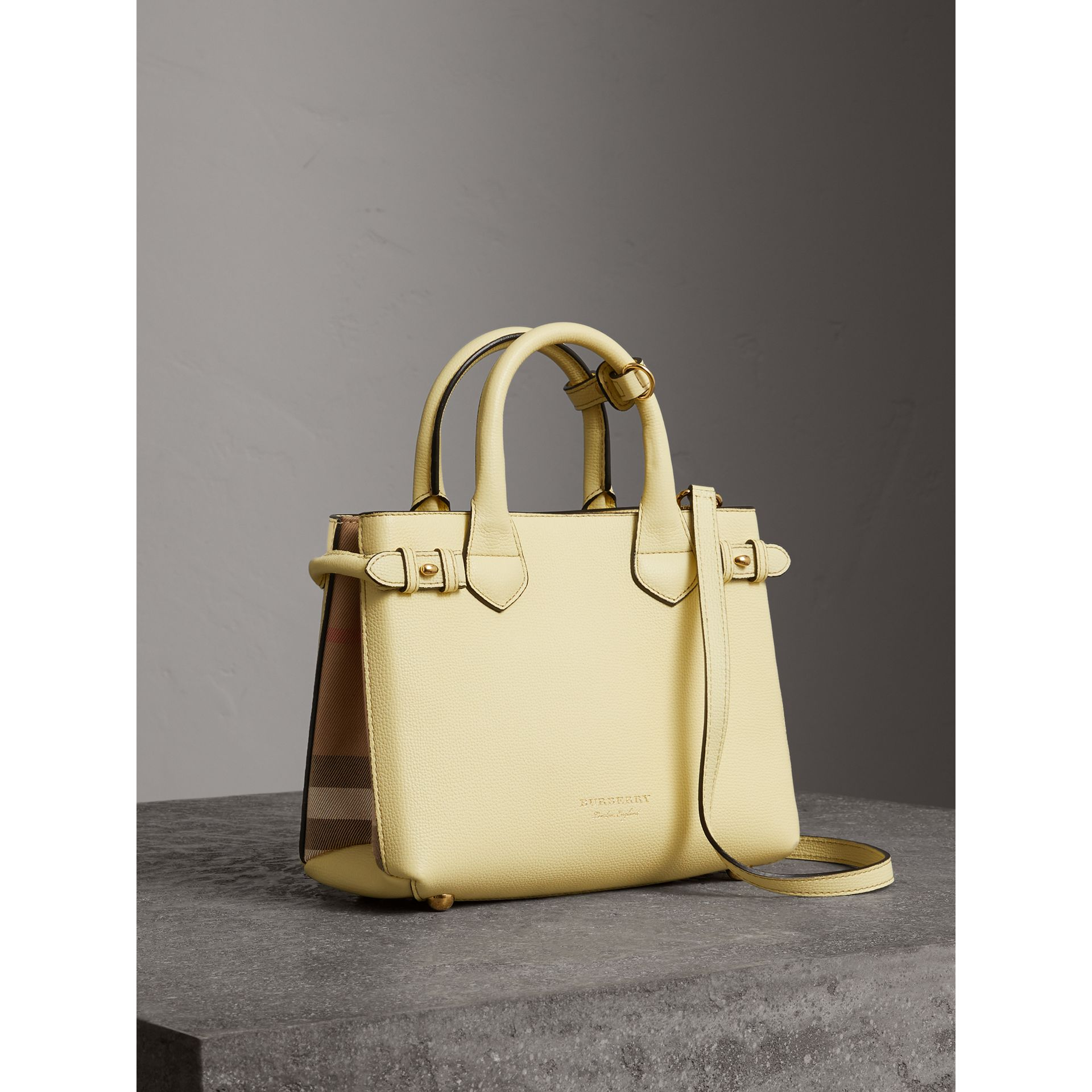 The Small Banner in Leather and House Check in Camomile Yellow - Women | Burberry - gallery image 0
