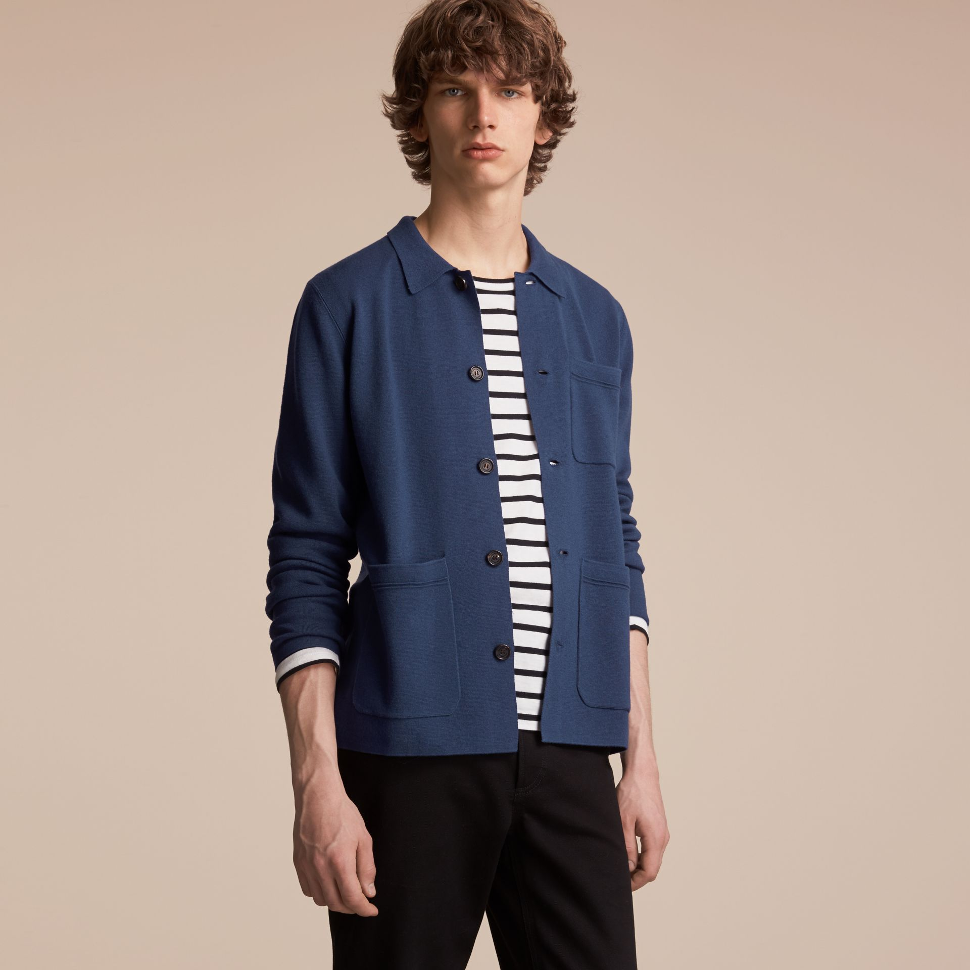 Knitted Cashmere Cotton Workwear Jacket in Steel Blue - Men | Burberry - gallery image 6