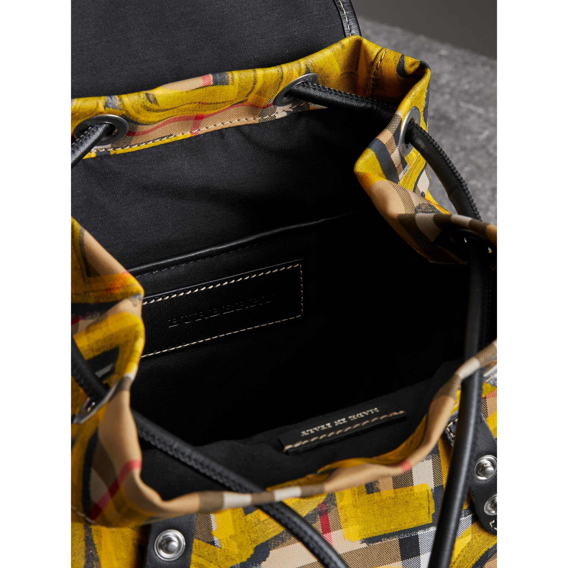 The Small Crossbody Rucksack in Graffiti Print Vintage Check in Black - Women | Burberry United States - gallery image 5
