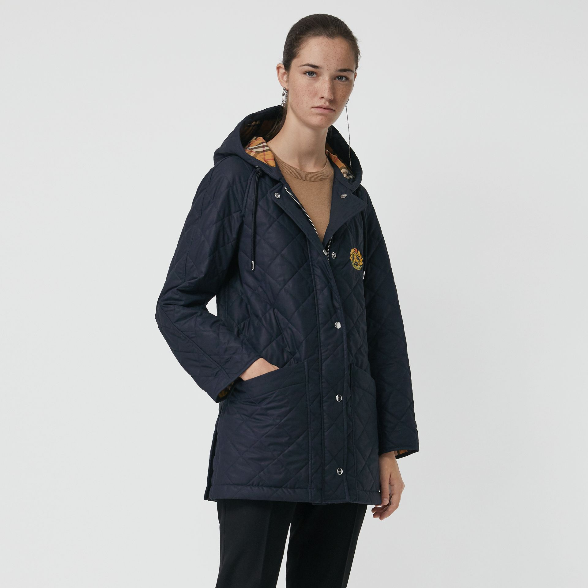 Lightweight Diamond Quilted Hooded Parka in Navy - Women | Burberry - gallery image 5