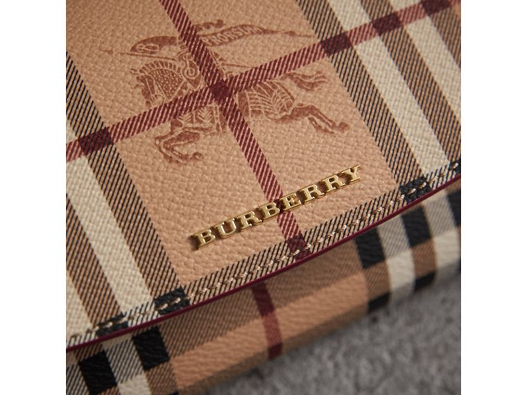 Haymarket Check and Leather Continental Wallet in Plum Pink - Women | Burberry - cell image 1